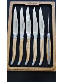 6 stk 'Laguiole En Aubrac' Oliventræ steakkniver